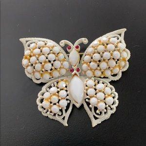 Weiss White Butterfly Rhinestone Brooch